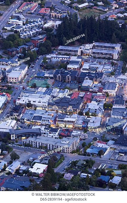 New Zealand, South Island, Otago, Queenstown, elevated town view from the Skyline Gondola deck, dusk