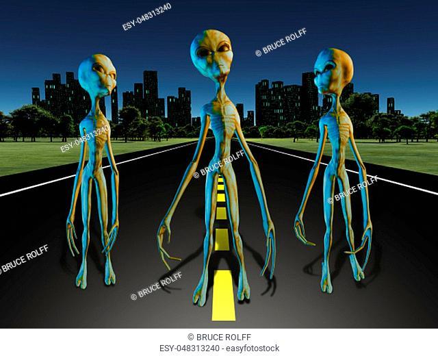 Aliens on road to city. 3D rendering
