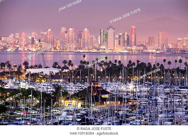 USA, United States, America, California, San Diego, City, Shelter Island, downtown, architecture, bay, boats, downtown, marina, palm trees, skyline, sport