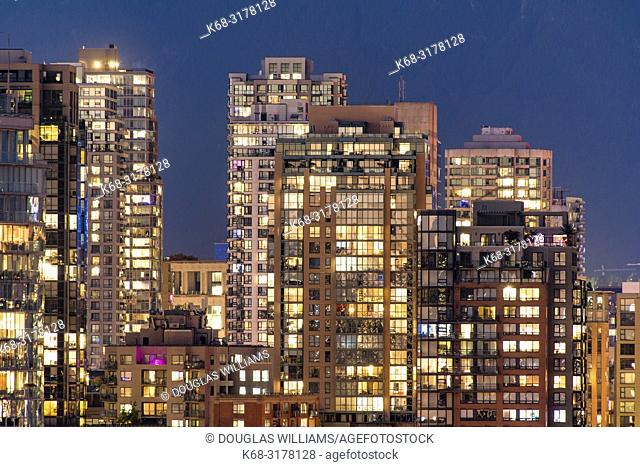 Vancouver apartment buildings at night