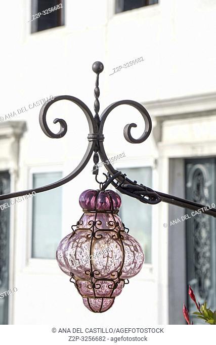 Venice, Veneto, Italy on January 21, 2019. Glass lamp in terrace
