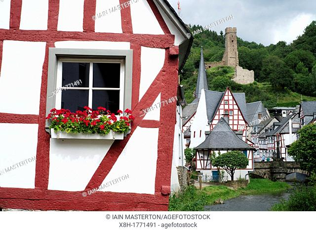 Old half-timbered houses in historic village of Monreal in Eifel Region of Rhineland-Palatinate Germany