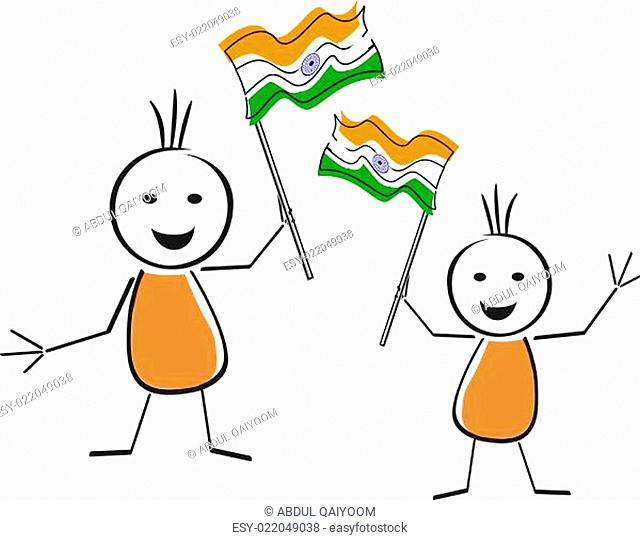 A card of Republic Day with wave in Indian flag. Vector Illustration