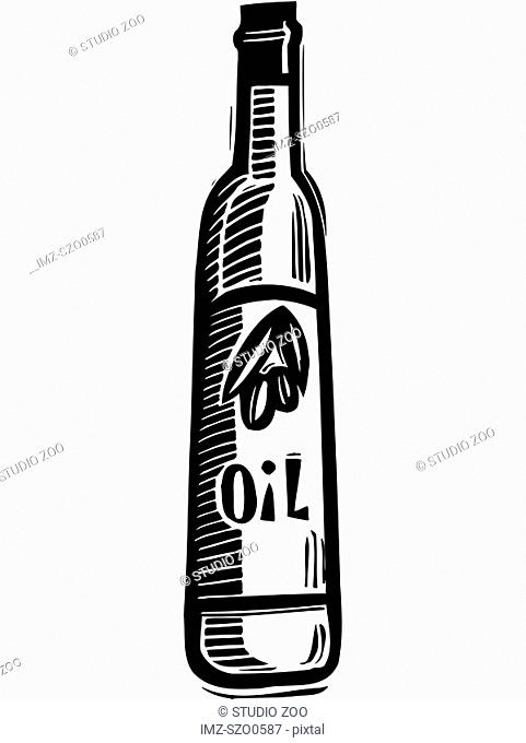 An illustration of a bottle of olive oil in black and white