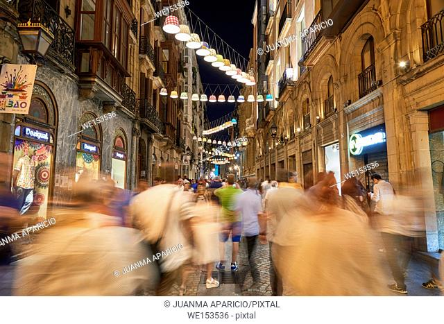 Old Town at night, Bilbao, Biscay, Basque Country, Euskadi, Spain, Europe