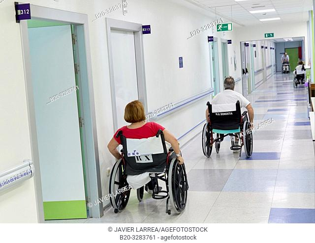 Patient in a wheelchair, Hospitalization Plant, Hospital Donostia, San Sebastian, Gipuzkoa, Basque Country, Spain