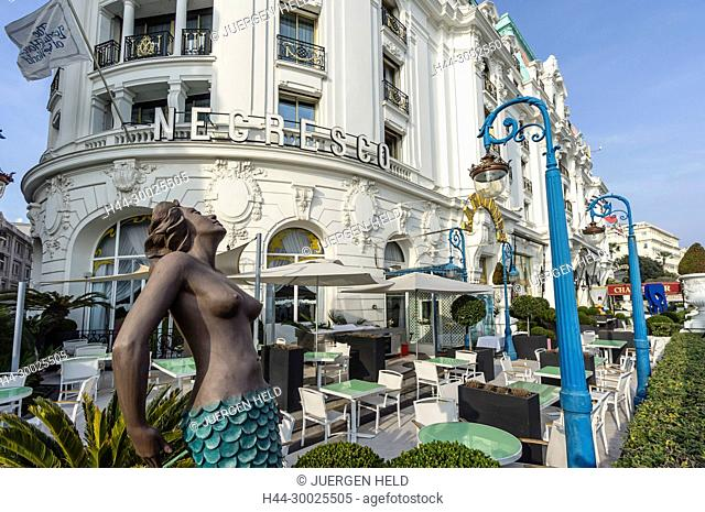 Mermaid in front of Hotel Negresco, Nice, Alpes Maritimes, Provence, French Riviera, Mediterranean, France, Europe