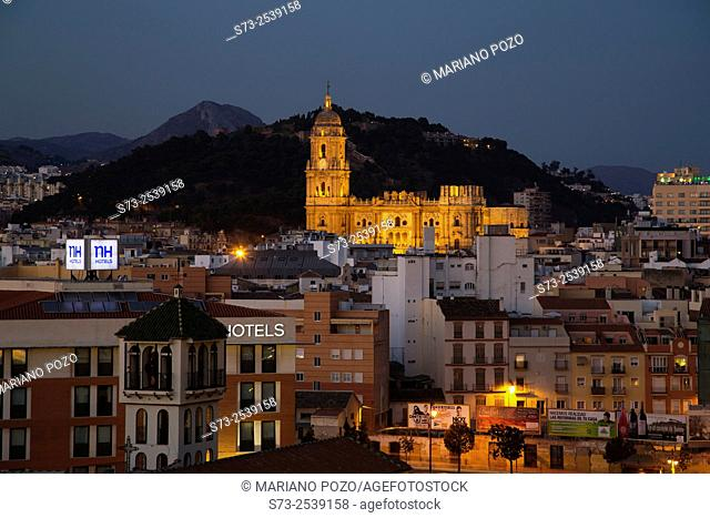 Panoramic of the city and the cathedral, Málaga, Andalusia, Spain