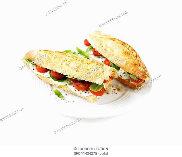 Tomato, mozzarella and basil baguette sandwiches