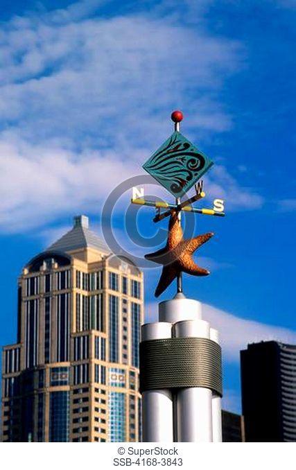 Usa, Washington, Seattle Waterfront, Decorative Weather Vane, Starfish, Skyline