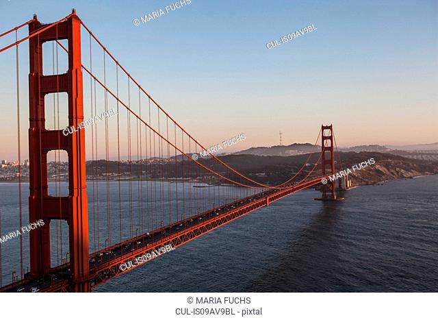 Elevated view of Golden Gate bridge over San Francisco Bay, San Francisco, California, USA