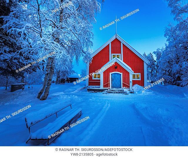 Small Wooden Church in Jukkasjarvi, Lapland, Sweden