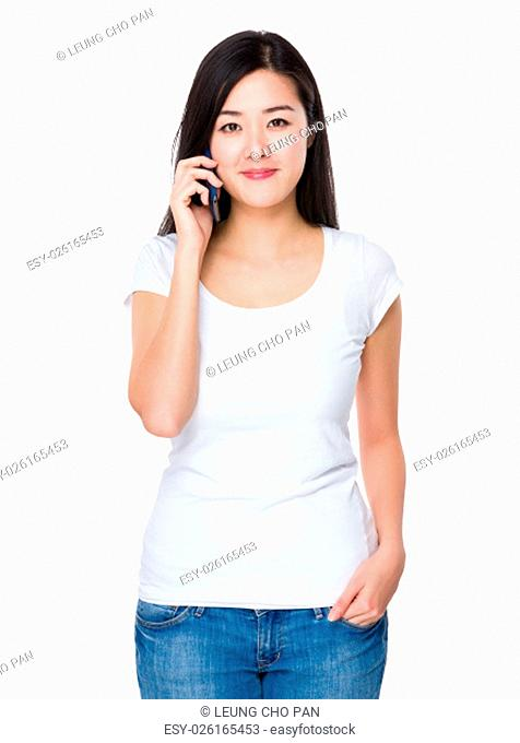 Young woman talk to cellphone