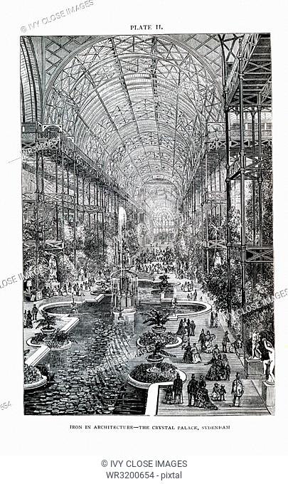 This illustration dates to the 1870s and shows the Crystal Palace at Sydenham Hill, a wealthy suburb in the area of London
