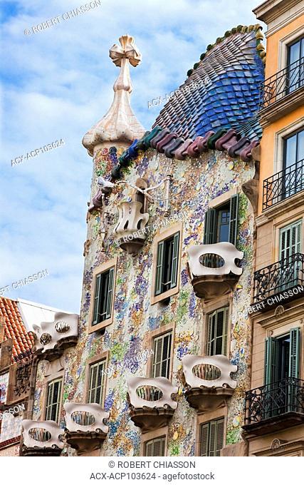 Front facade of Casa Batllo, formerly a residence designed by architect Antoni Gaudi for textile tycoon Jospe Batllo i Casanovas