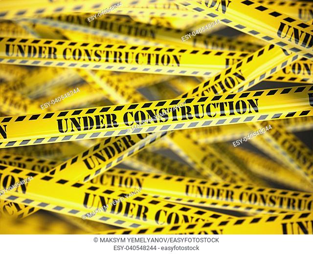 Under construction yellow caution tape background. 3d illustration