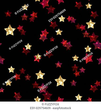 Pattern with glitter textured red gold stars confetti print on black background