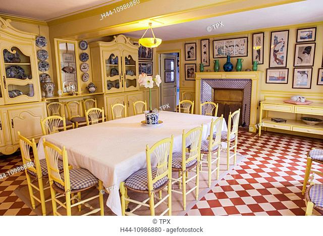 France, Normandy, Giverny, Monets Garden, Monet's House, The Dining Room