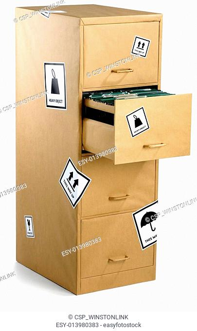 a filing cabinet wrapped carefully in brown paper ready for an office move isolated on a white background