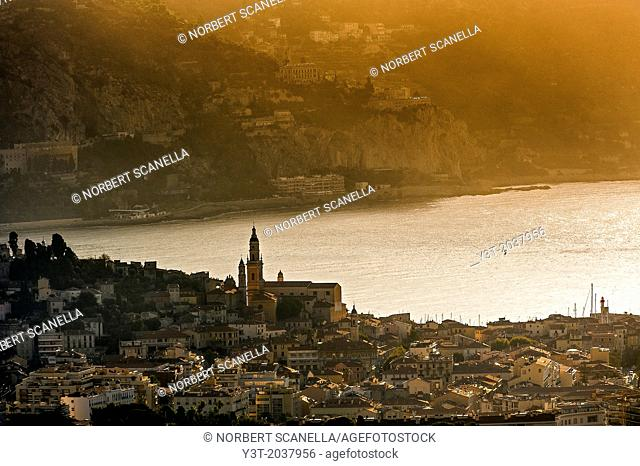 Europe, France, Alpes-Maritimes, Menton. Bay of Menton, the old town with the Basilica of Saint-Michel and its bell tower