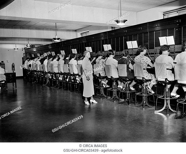 Switchboard Operators, U.S. Capitol Building, Washington DC, USA, Harris & Ewing, July 1937