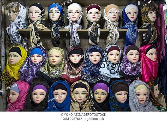 Iran, Kerman, old bazaar, dummies