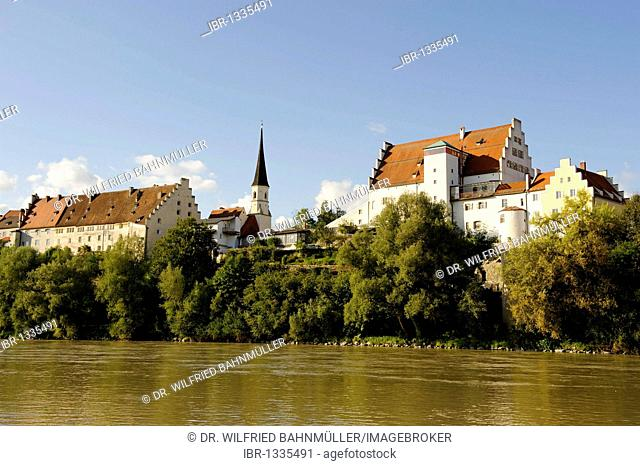 Castle above the river Inn, Wasserburg upon the river Inn, Upper Bavaria, Germany, Europe