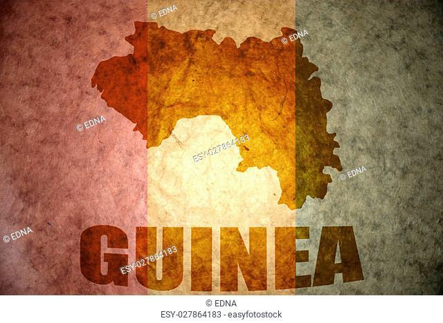 guinea map on a vintage guinea flag background