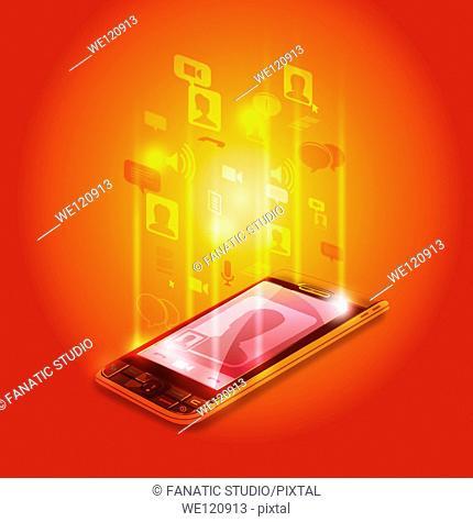 Illustrative image of mobile phone representing social communication
