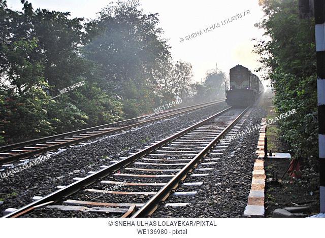 Train, Railway on Track, Pune, Maharashtra, India