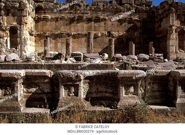 Archeological site - Great Court - Water basin and in the background semicircular and rectangular exedras