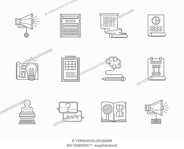 An account making, SEO, website. Set of 12 thin line vector style web icons. Elements of web design for business and site