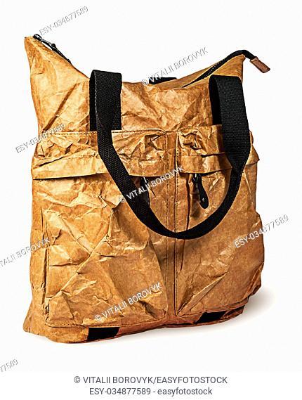 Stylish elegant paper ladies handbag rotated isolated on white background