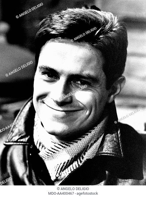 Massimo Dapporto on the set of Winterset. Italian actor Massimo Dapporto smiling on the set of the TV drama in lines Winterset. Milan, 1972