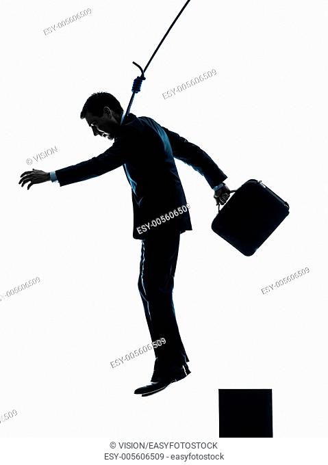 one caucasian man business man suicidal hanging in silhouette studio isolated on white background