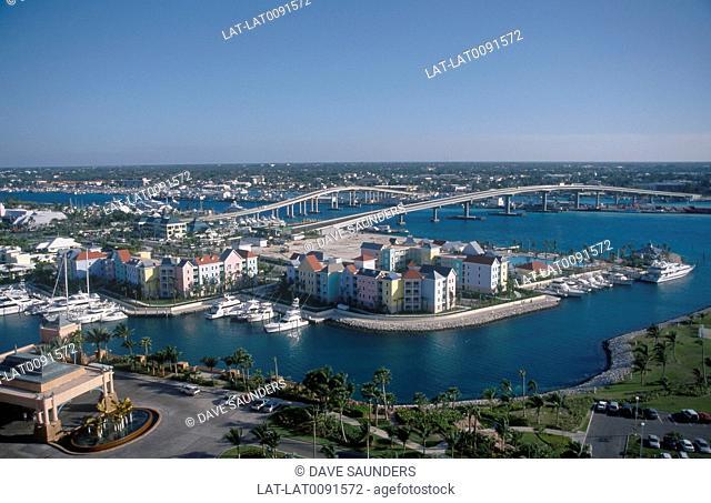 View from height over bridges to resort island. Nassau in distance