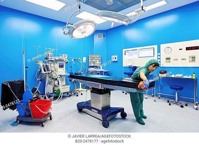 Woman cleaning operating room, Ambulatory Surgery, Hospital Donostia, San Sebastian, Basque Country, Spain