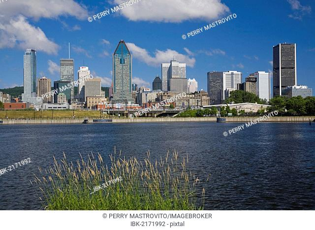 Montreal skyline and Lachine canal, Quebec, Canada