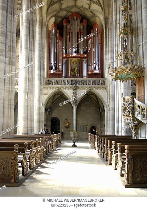 Organ of cathedral St. Georg in Dinkelsbuehl, Central Franconia, Bavaria, Germany