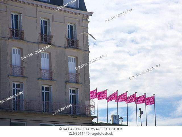 A typical french house with pink flags lined up across the beach with a pigeon flying in on a sunny day. Horizontal photo
