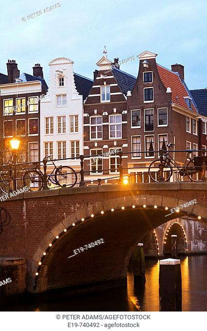 Town houses & bridge, Prinsengracht, Amsterdam, The Netherlands