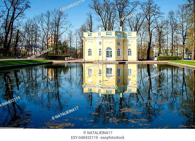 Haute tub. Ekaterinensky Park. Tsarskoye Selo. Pushkin. Saint-Petersburg. Russia. The reflection in the pond. A Sunny spring day