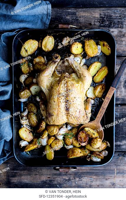 Garlic chicken with potatoes in a roasting tray (top view)