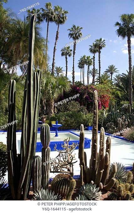 The beautiful tropical 'Jardins Majorelle' in Marrakech Morocco