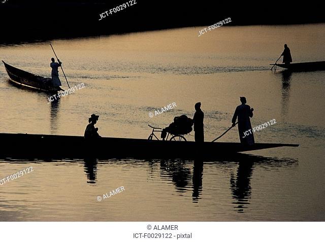 Mali, Djenné, pirogues on Bani River