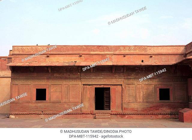 Haram Sara Offices Jodh Bai's Kitchen in Fatehpur Sikri built during second half of 16th century made from red sandstone , capital of Mughal empire , Agra