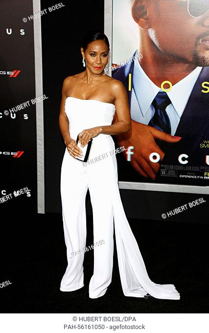 US actress Jada Pinkett Smith arrives for the World Premiere of Warner Bros Pictures 'Focus' at TCL Chinese Theater in Hollywood, Los Angeles, California, USA