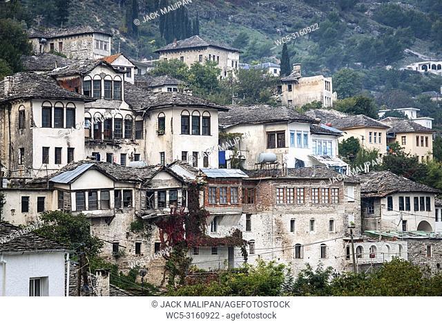 Gjirokaster town balkan ottoman heritage architecture view in southern albania
