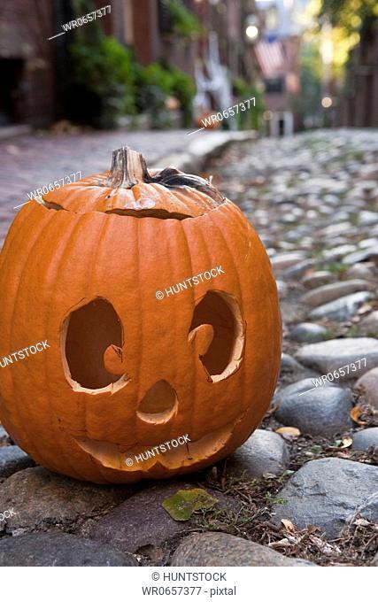 Close-up of a Jack O Lantern, Acorn Street, Beacon Hill, Boston, Massachusetts, USA