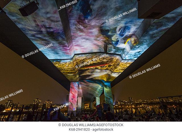 INTERRUPTED is a cinematic summer art installation on the Cambie Bridge in Vancouver, BC, Canada